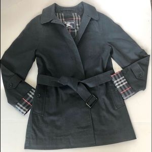 BURBERRY Navy Button and Belted Trench Coat